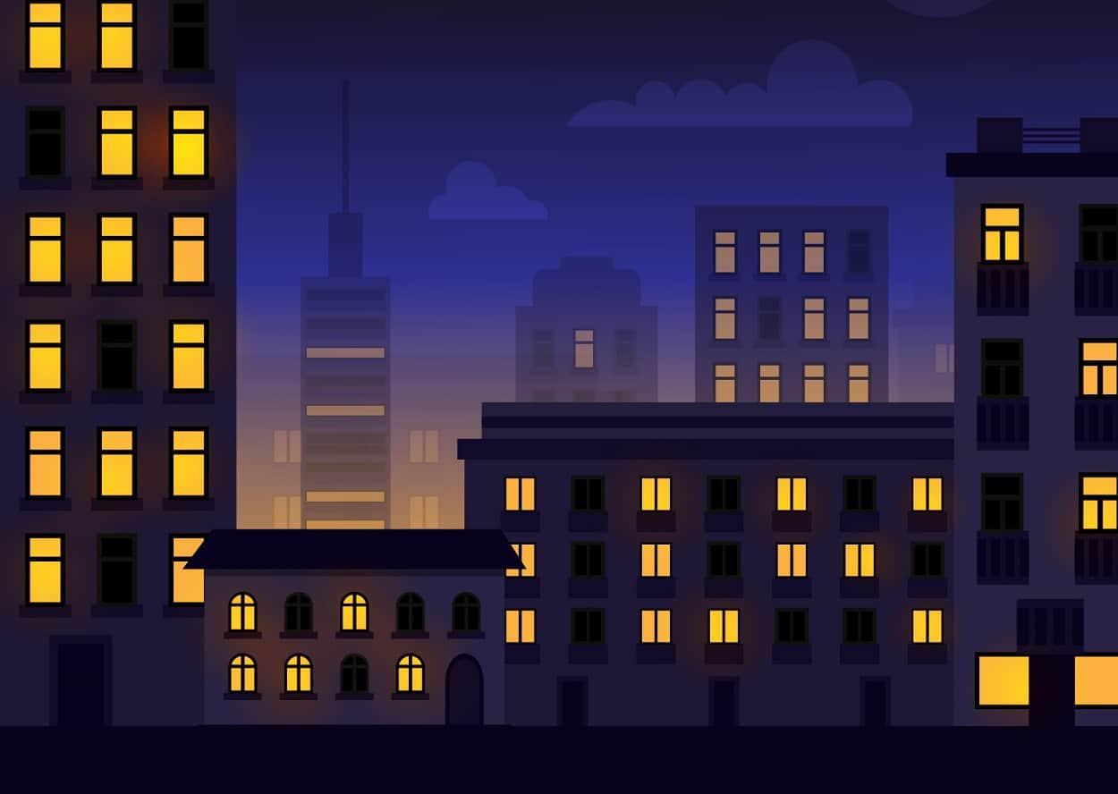 Картинка для детей город вечером
